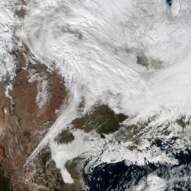 A satellite picture of the storm, latest weather report states a huge snowstorm in America