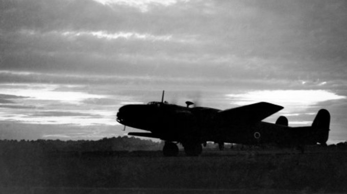 A Halifax bomber ready to take off