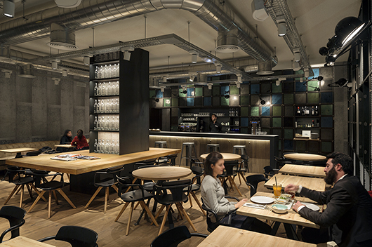Industrial Style And Reclaimed Materials At The OhBo Organic Caf In Barcelona Designed By