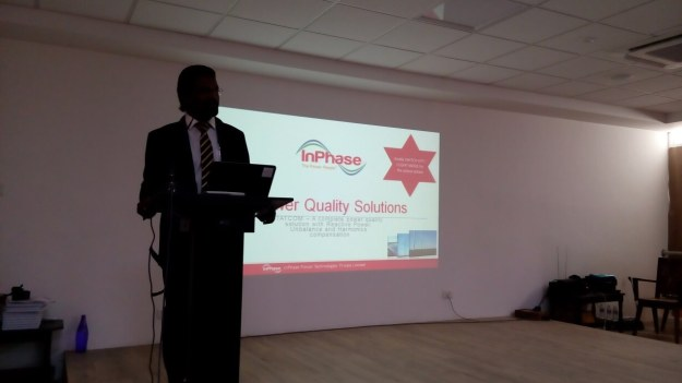 Mr.Hasan Mydin – Senior Manager InPhase Power Quality Solutions delivering his lecture