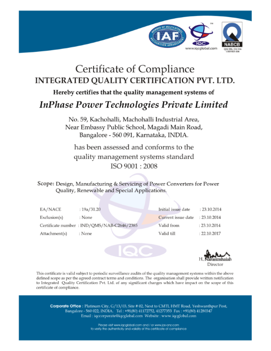 InPhase-ISO-Certificate