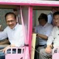 Розовые вагонетки с мультяшными изображениями радуют туристов