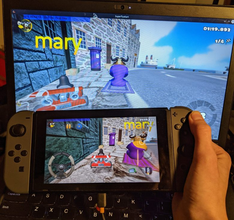SuperTuxKart being played on the Switch