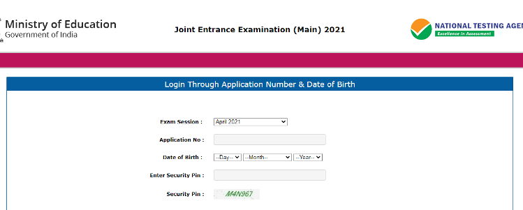 JEE MAINS April Session Admit card