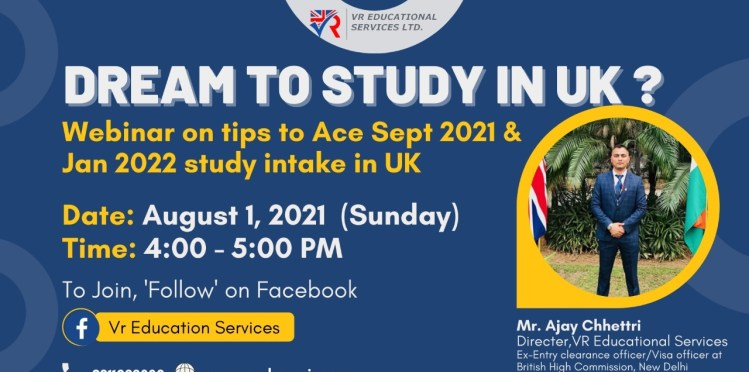 VR Education Services | webinar on Tips to Ace sept 2021 and Jan 2022 UK study Intake