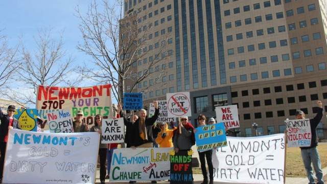 newmont mining protest