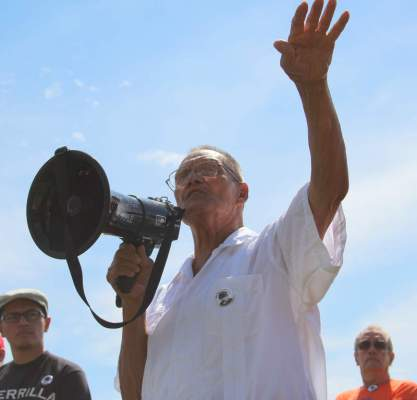 Ricardo Romero speaking at the 40th year commemoration of the life of Ricardo Falcon in Fort Lupton in 2013. photo: KGNU News