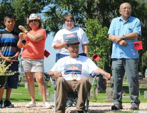 Ricardo Romero celebrating the life of activist Ricardo Falcon on August 30, 2014.