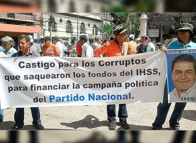 """""""Punishment for the corrupt individuals that looted the IHSS funds to finance the political campaign of the National Party."""" Source: El Heraldo"""