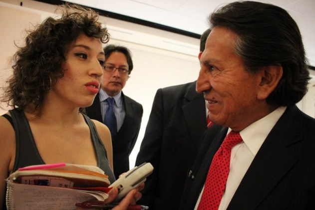 2015: Former President of Peru Alejandro Toledo is approached by KGNU about the School of the Americas and Newmont Mining.