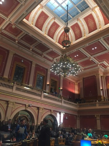 The two year state capitol renovation project is complete, uncovering skylights in both chambers and vibrant colors and ornate stenciling, which used to be covered with acoustic tiles.