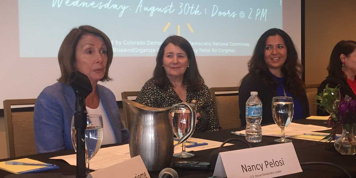 Pelosi joined by Democratic Congresswoman Diana DeGette and Speaker of the House Crisanta Duran