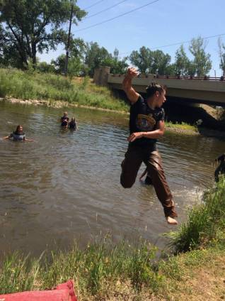 Adam Ventimiglia and other young riders cool down in Boulder Creek