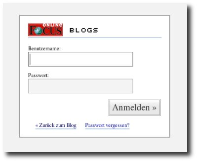 Screenshot Login Focus Blogs