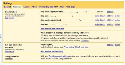 Einrichtung weiterer Postfächer in Google