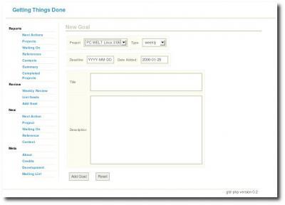 Arbeitsbildschirm GTD-PHP