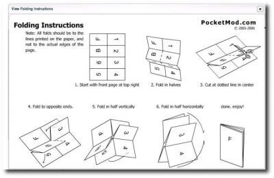 Anleitung zum Falten bei Pocketmod