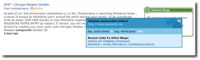 Zusatzinfos zu einem Blog bei Sphere