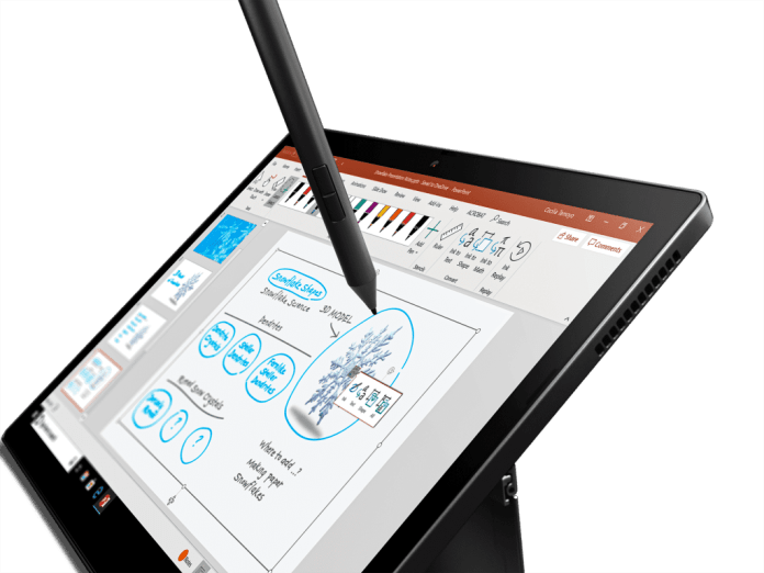 ThinkPad X12 tablet, closeup of pen in use on screen