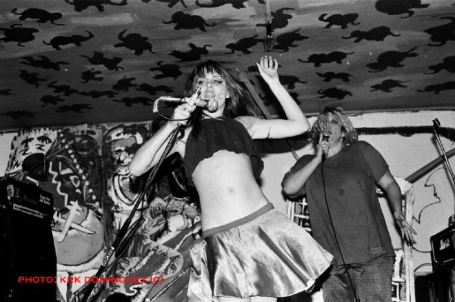 Lisa Carver, pre-nudity in punkrock performance.