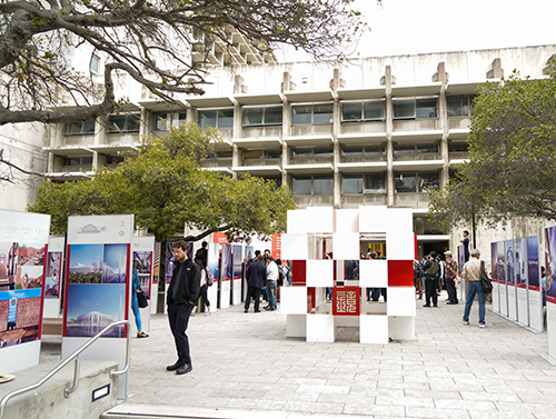 The outdoor exhibit near Wurster Hall