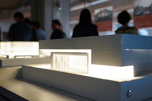 A model of a building in the exhibit