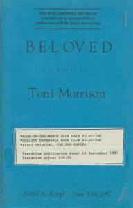 Uncorrected galley proof of Toni Morrison's 1987 novel Beloved