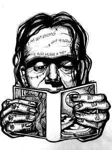 Frankenreads Logo (Frankenstein's head peers over a small book he is holding)