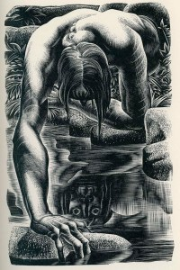 A Lynd Ward wood engraving of Frankenstein's monster
