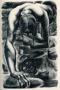 A Lynd Ward wood engraving of Frankenstein's monster