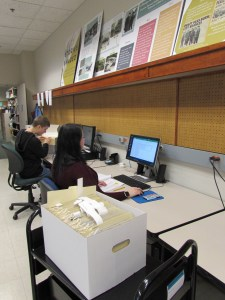 Students at work in Special Collections