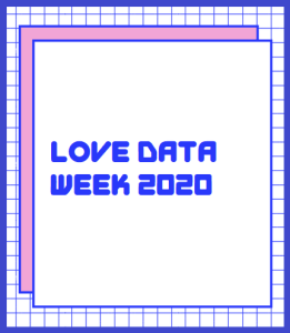 Love Data Week 2020 Logo (pink and purple, computer font)