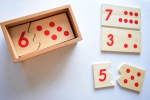 Image of wooden math teaching tiles