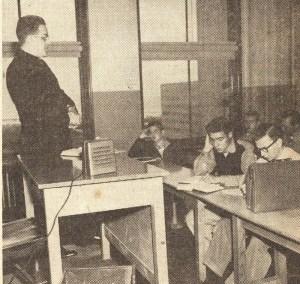 Classroom with telephone speaker