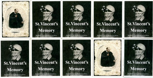 """Ten cards with title, """"St. Vincent's Memory"""""""
