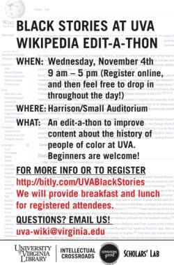 Black Stories at UVA Wikipedia Edit-A-Thon