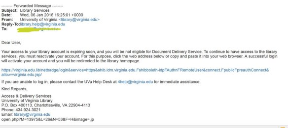 Phishing email purporting to be from the Library