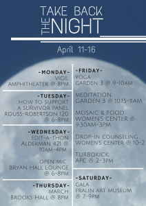Take Back the Night schedule of events (Click to enlarge)