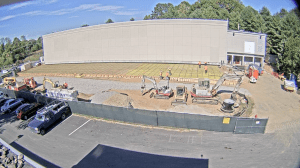An overhead view of a construction site early in a project.