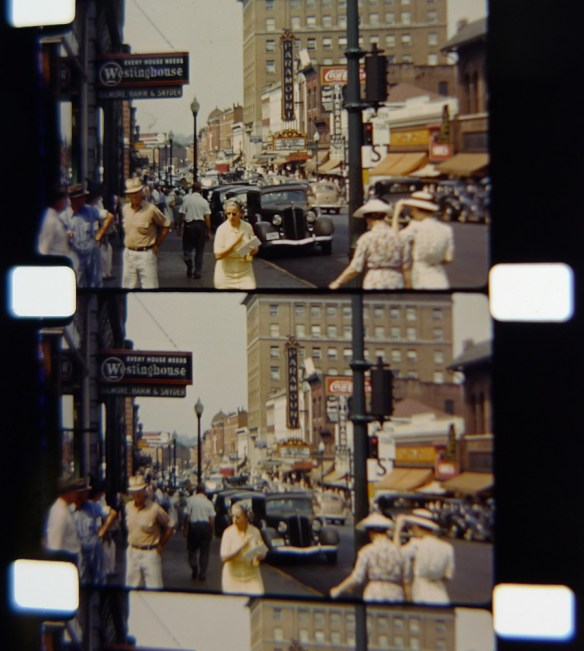 Charlottesville's Main Street circa 1939, a still from the Ralph W. Feil Home Movies held at the Albert and Shirley Small Special Collections Library