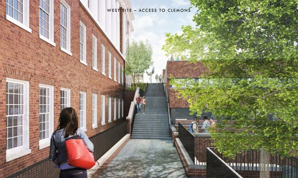 A view up proposed stairs (with Aviator statue at top) between Clemons and Alderman