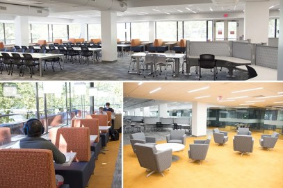 A top image shows a large interior space and plate glass windows letting in outdoor light, and large square tables lined with chairs.  Bottom images show cushioned chairs and a combination of sun and artificial lighting.