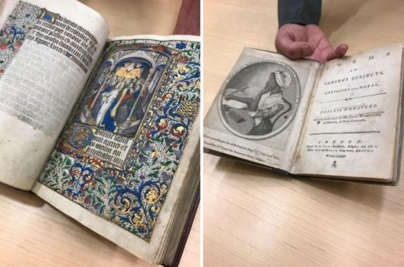 Two books open to pages with illustrations