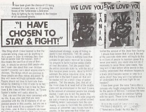 more of Patty Hearst's letter explaining her radicalization, under a picture of her posing with a gun