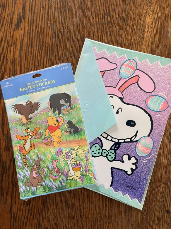 A Snoopy Easter card and Winnie the Pooh Easter stickers