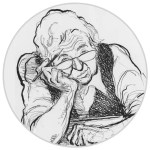 Caricature of cartoonist Pat Oliphant holding pencil, with head resting on right hand
