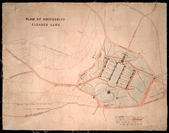 Old hand-drawn map of UVA Grounds labeled Plan of UVA Cleared Land