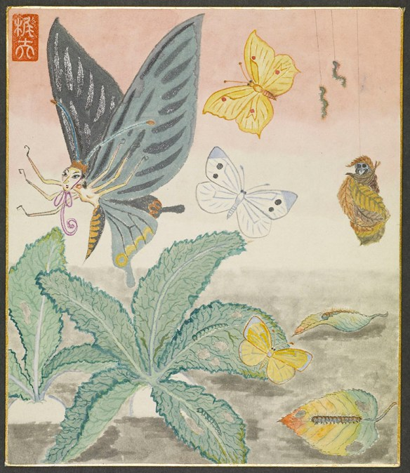 Butterfly-like creature with a human female head and body with six arms, flying with butterflies and seeming to flee from a creature with a skull-like face, wrapped in leaves and dangling with two worms attached to strings.,