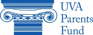 logo has stylized columns on left and reads UVA Parents Fund to right of the columns. All art is blue.