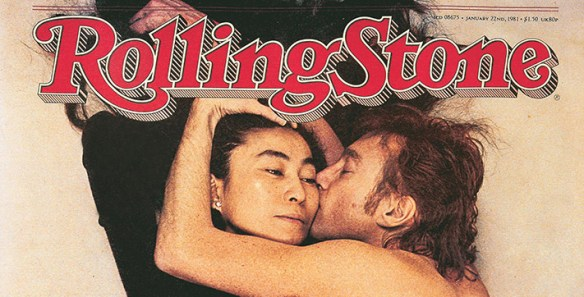 Top section of Rolling Stone magazine title banner superimposed over cover photo of John Lennon kissing his wife, Yoko Ono, his arm curled around her head.